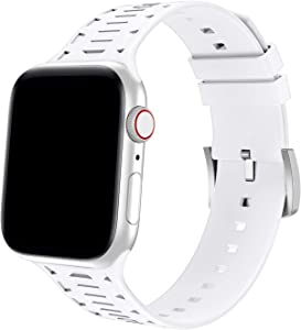 Bandiction Sport Band Compatible for Apple Watch Band 42mm 44mm, Breathable Soft Silicone Strap Compatible for iWatch Band Series 5/4/3/2/1 (White)