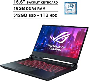 Asus ROG G531GT 15.6 Inch FHD 1080P Gaming Laptop, 9th Gen Intel 6-Core i7-9750H up to 4.50 GHz, GeForce GTX 1650, 16GB DDR4 RAM, 512GB SSD (Boot) + 1TB HDD, Backlit KB, Windows 10, Black