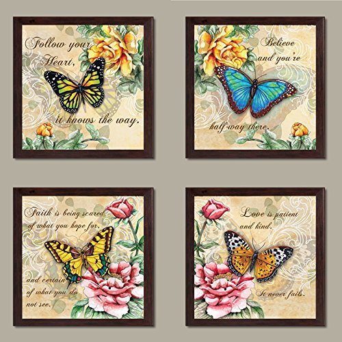 4 Beautiful Butterflies and Flowers Inspirational Quotes Butterfly Art Prints; Four 12x12in