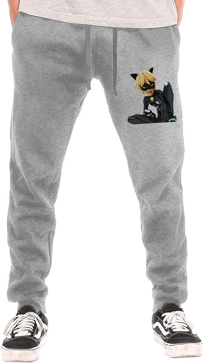 TIANBA Mens Cat Noir Rainbow Humor with Pockets Comfortable Sweatpants Black