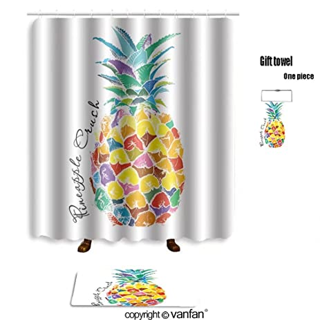 Vanfan Bath Sets With Polyester Rugs And Shower Curtain Poster Image Of Pineapple Fruit Vector