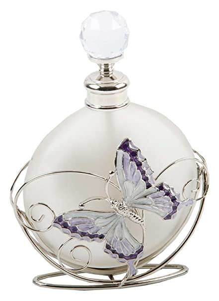 Amazon opaque glass perfume bottle with purple and white opaque glass perfume bottle with purple and white flowers and butterfly by haysom interiors mightylinksfo