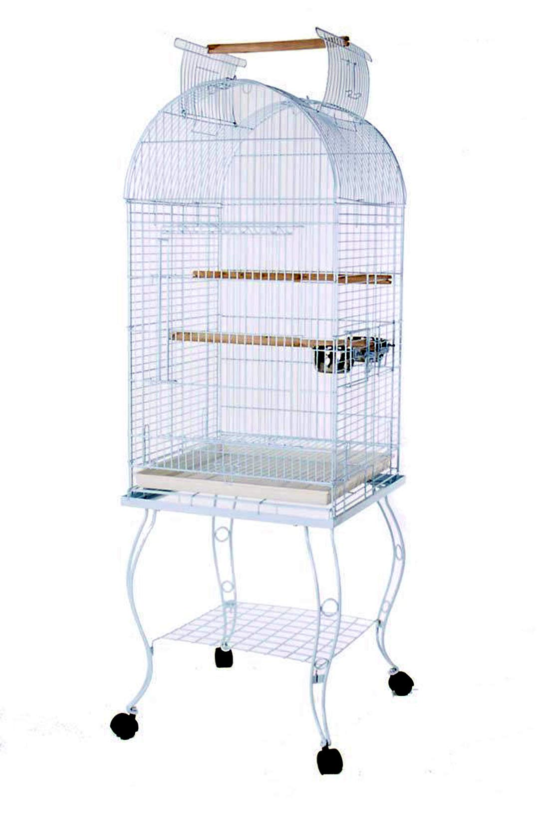 PetcageMart Metal Playtop Parrot Bird Cage with Stand, 20 by 20 by 65-Inch, White by PetcageMart