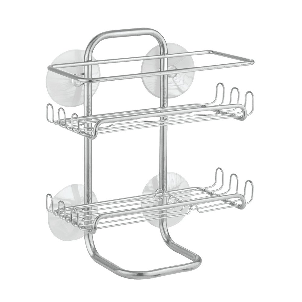 Bathroom Shower Caddy Suction Shelves Shampoo Conditioner Soap Rack ...