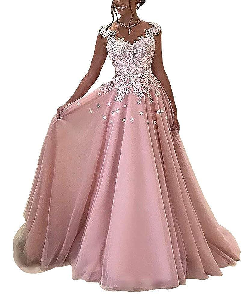 Light Pink Darcy74Dulles Women's Elegant VNeck Long Evening Gowns Dress Appliques Formal Prom Gowns Dresses