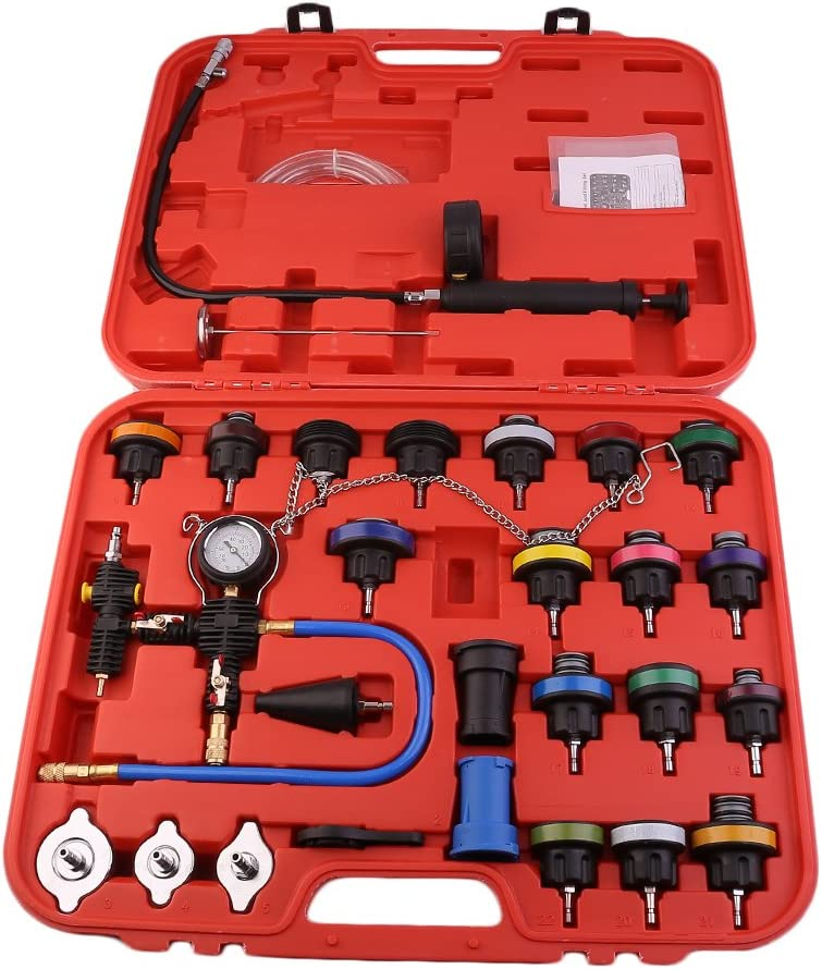 Car Radiator Pressure Tester and Vacuum Type Cooling System Purge Refill Kit 28pcs with Case