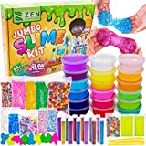 DIY Slime Kit for Girls Boys - Ultimate Glow in The Dark Glitter Slime Making Kit - Slime Kits Supplies Include Big Foam Beads Balls, 18 Mystery Box Containers Filled with Fluffy Crystal Powder Slime
