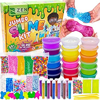 f95867f5e DIY Slime Kit for Girls Boys - Ultimate Glow in the Dark Glitter Slime  Making Kit - Slime Kits Supplies include Big Foam Beads Balls, 18 Mystery  Box ...