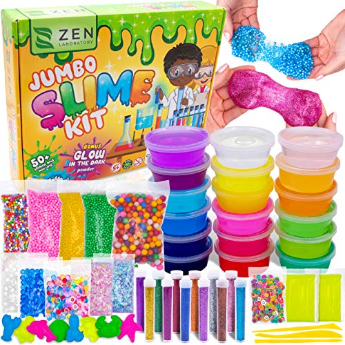 (DIY Slime Kit for Girls Boys - Ultimate Glow in the Dark Glitter Slime Making Kit - Slime Kits Supplies include Big Foam Beads Balls, 18 Mystery Box Containers filled)