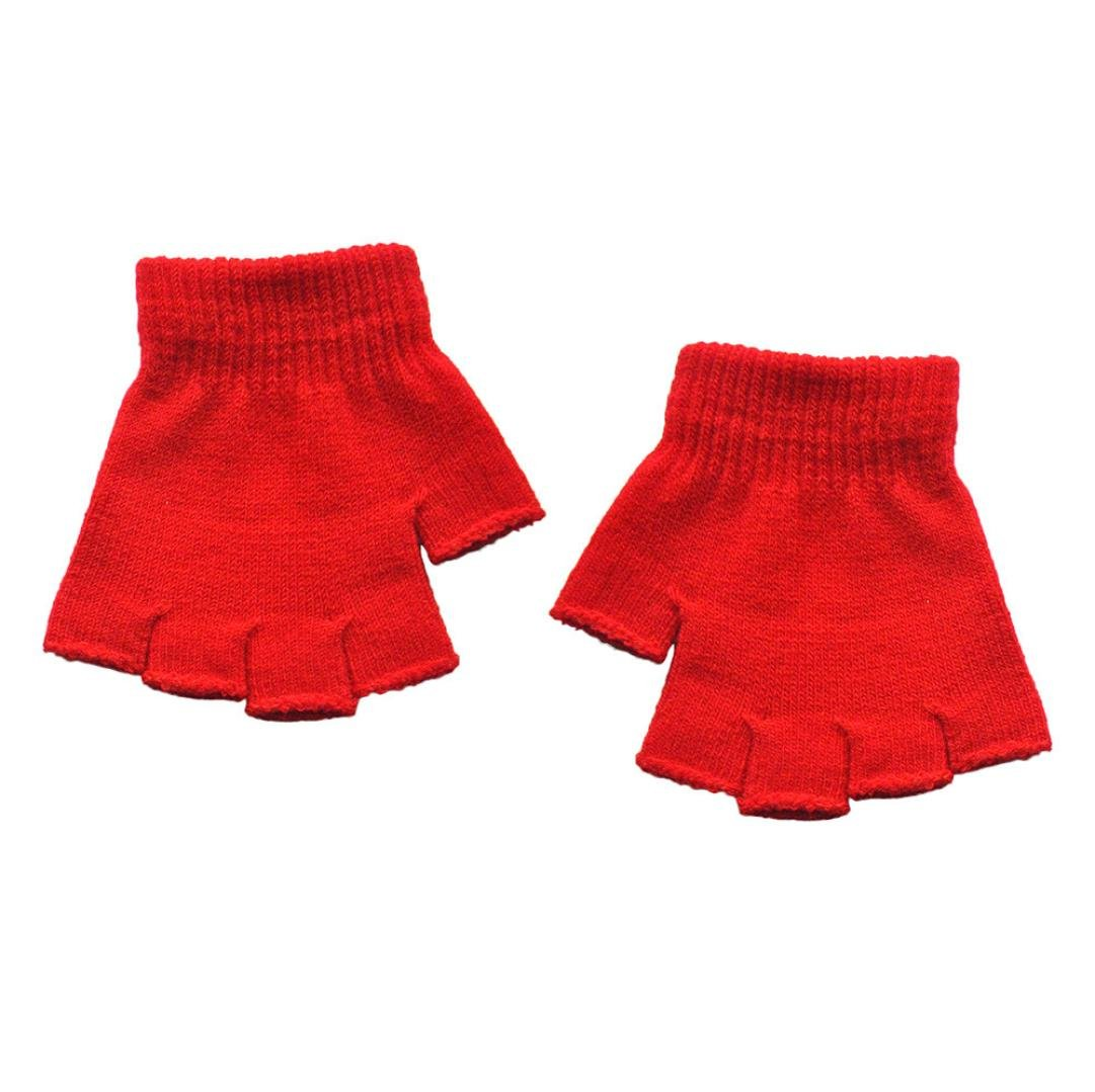 Minshao Infant Baby Girls Boys Half Finger Fingerless Solid Winter Warm Gloves For 5-14 Years old