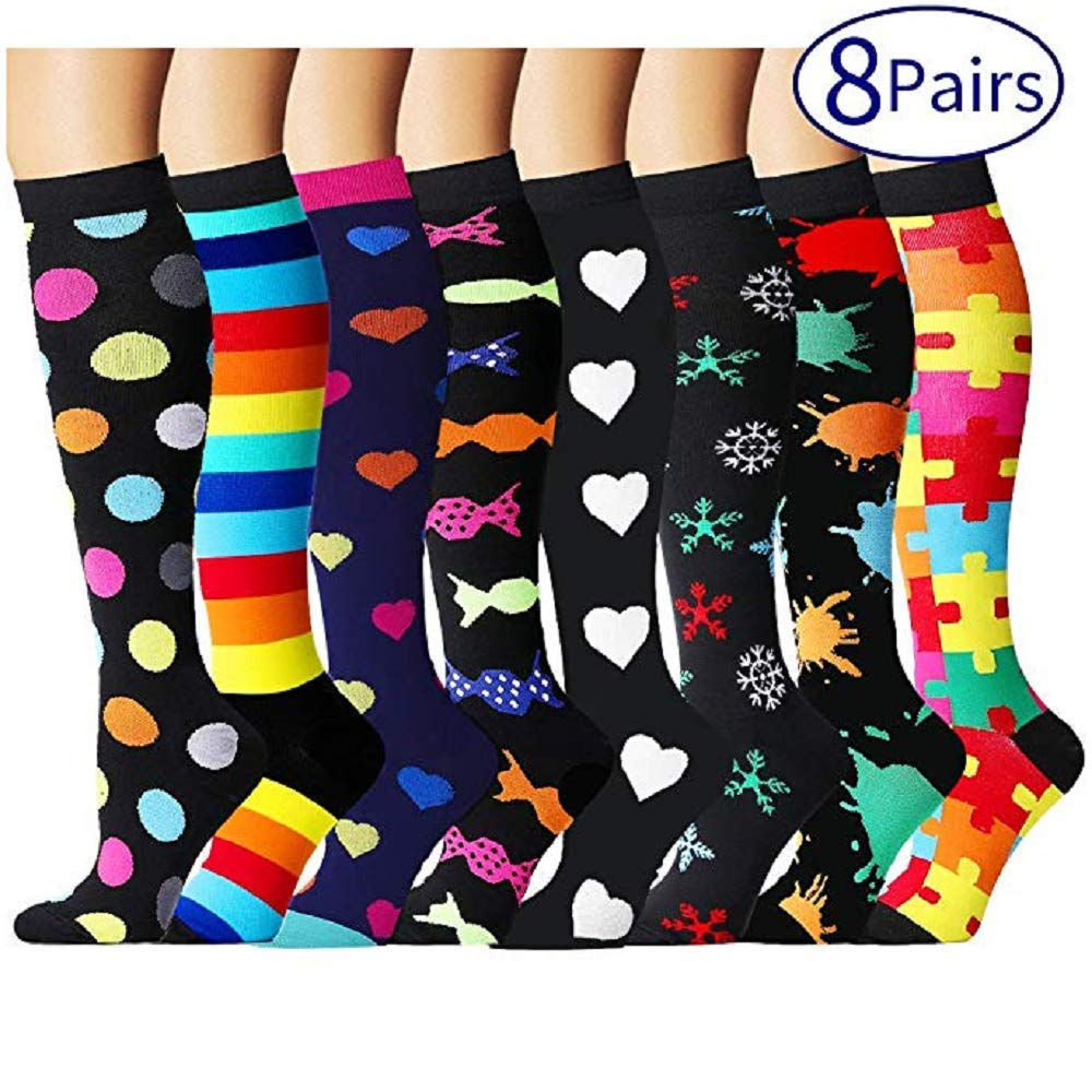 Compression Socks for Women and Men - Best Athletic,Fitness Nursing, Edema,Diabetic,Varicose Veins,Maternity,Travel,Flight Socks. Boost Performance Blood Circulation & Recovery