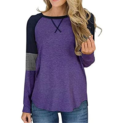 Hugonis Women's Color Block Round Neck Tunic Tops Casual Long Sleeve Shirt Blouse at Women's Clothing store