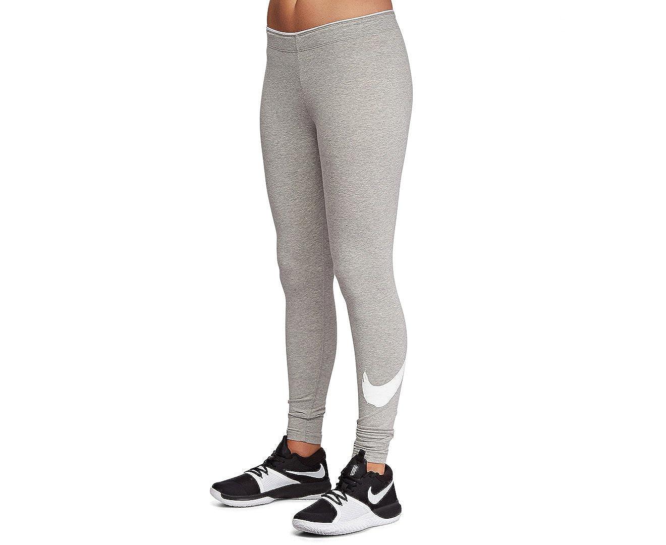 0f2079426a5 Amazon.com  Nike Womens Club Swoosh Tights Dark Grey Heather White X-Small   Sports   Outdoors