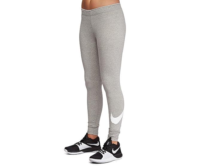 2a749c7d4bec52 Amazon.com: Nike Womens Club Swoosh Tights Dark Grey Heather/White X ...