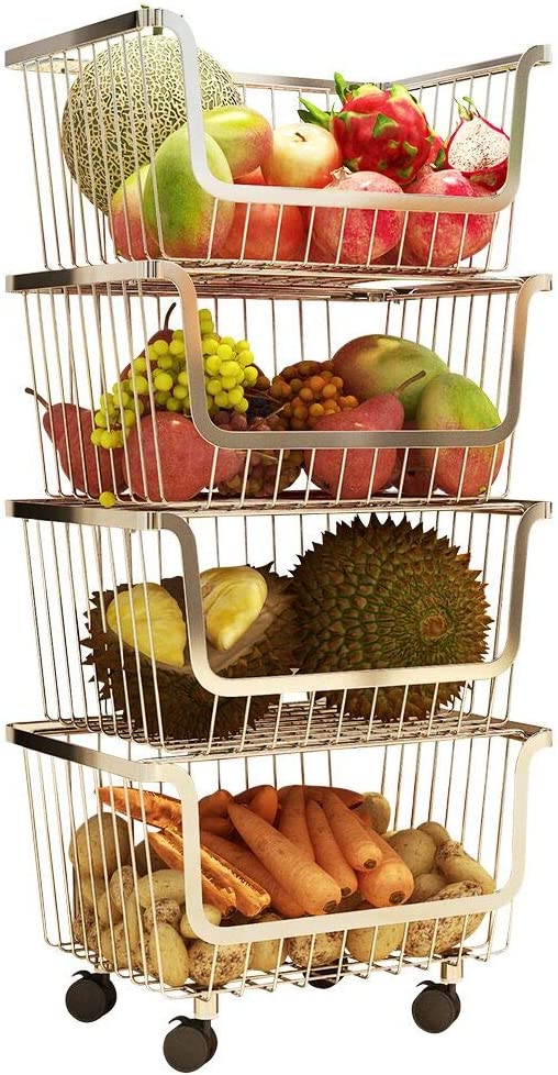 4 Layer Metal Kitchen Storage Organizer Rack Stackable Fruit Vegetable Basket Floor Standing Utility Trolley Cart Shelf for Kitchenware, Household Items, Food, Snacks, Bottles, Toys, Toiletries Holder