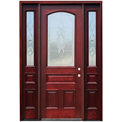 Traditional 34 Arch Lite Stained Mahogany Wood Entry Door With 6 In