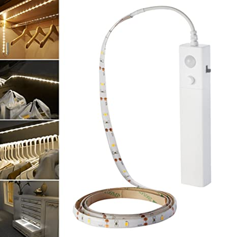 1-3M Battery Powered LED Strip Light Wireless PIR Motion Sensor Wardrobe Cabinet