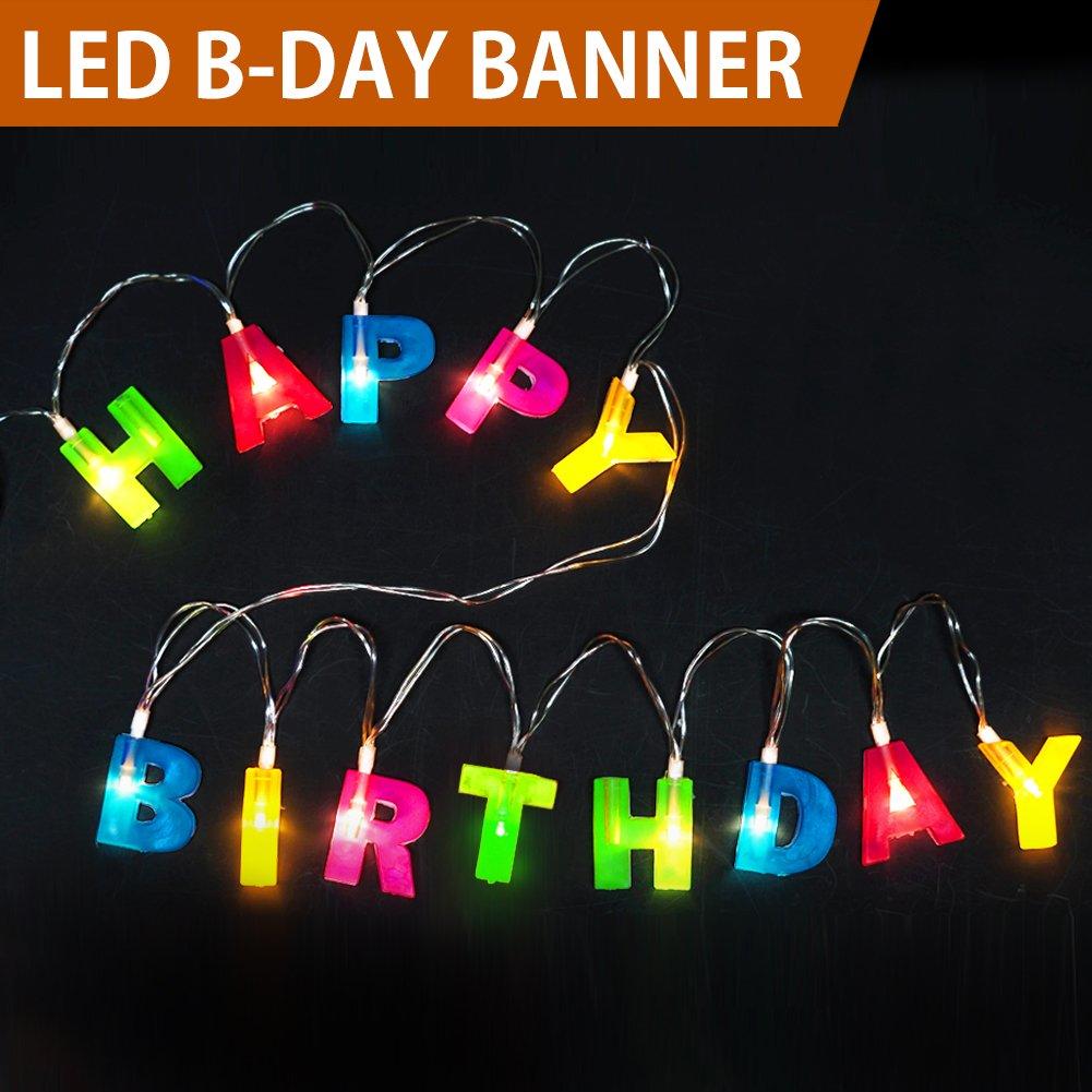 "Bright Zeal BZ Multicolor Letter Happy Birthday LED String Lights (1.2"" Letter Size, 5.5"