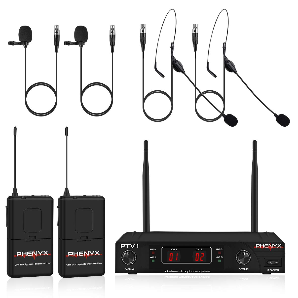 Best for Presentation Church PTV-1D Interference-Free Interview Weddings Phenyx Pro VHF Cordless Mic Set with 2 Headsets+2 Lapels+2 Bodypacks Wireless Microphone System Easy Setup