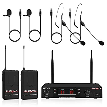 Wireless Microphone System, Phenyx Pro VHF Cordless Mic Set with 2  Headsets+2 Lapels+2 Bodypacks, Easy Setup, Interference-Free, Best for