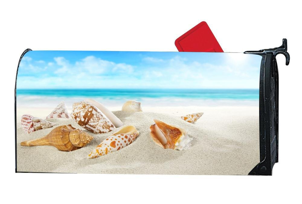 DIYMBCovers Customized Magnetic Mailbox Cover Home Garden MailBox Wraps - Beach Shells Sea Sand