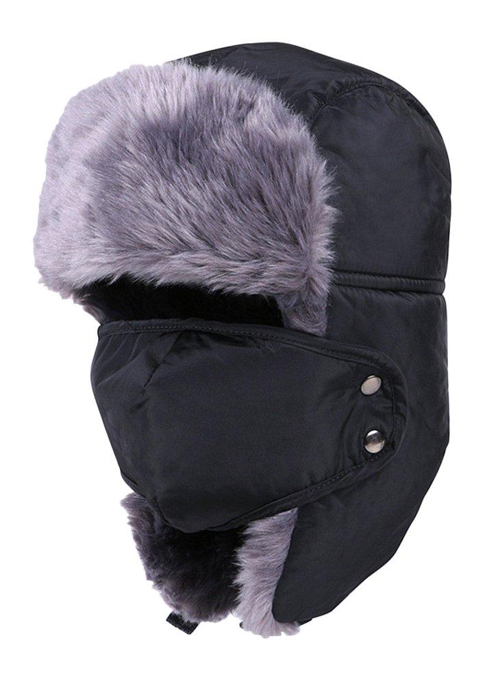 EachWell Unisex Women Men Winter Warm Windproof Ushanka Trapper Hat Face Mask Black-1