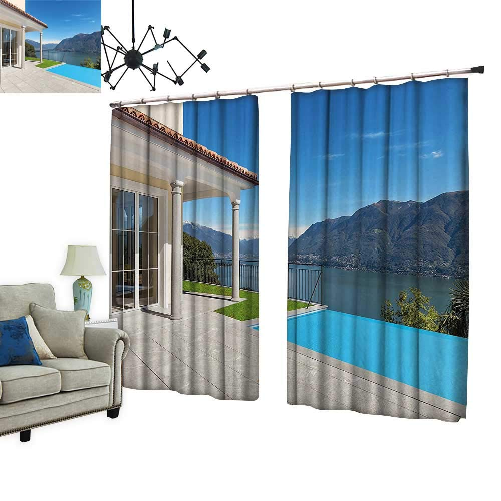 PRUNUS Window Curtains with Hook Lake Maggiore Swedish Alps View Terrace of a House Mountains White Blue and Improve Living Environment,W84.3 xL96.5
