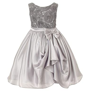 Amazon kids dream girl silver rosette satin pick up flower girl kids dream girl silver rosette satin pick up flower girl dress 4 mightylinksfo