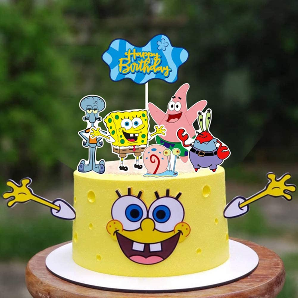 SpongeBob SquarePants Cake Topper Set for Kids Birthday Party Supplies
