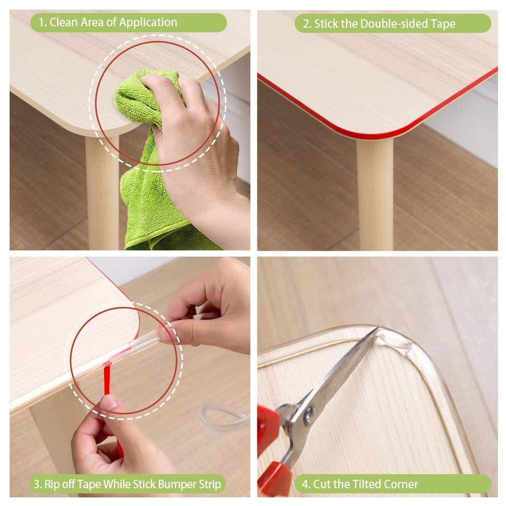 20 pies Protectores de borde de mesa para muebles Tira de parachoques de silicona suave con cinta de doble cara para bordes de muebles Protectores de esquina transparentes