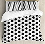 Ambesonne Sports Duvet Cover Set King Size, Soccer Ball Vivid Pattern Athletic Sport Themed Geometrical Modern Artistic Design, Decorative 3 Piece Bedding Set with 2 Pillow Shams, Grey White