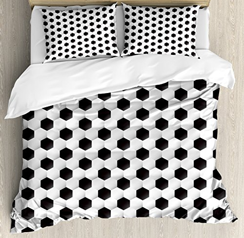 Ambesonne Sports Duvet Cover Set King Size, Soccer Ball Vivid Pattern Athletic Sport Themed Geometrical Modern Artistic Design, Decorative 3 Piece Bedding Set with 2 Pillow Shams, Grey White by Ambesonne