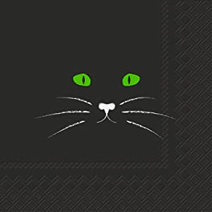 Ideal Home Range 3-Ply Paper Beverage/Cocktail Napkins, 20-Count, 5 x 5-Inches Folded, Black Cat Face