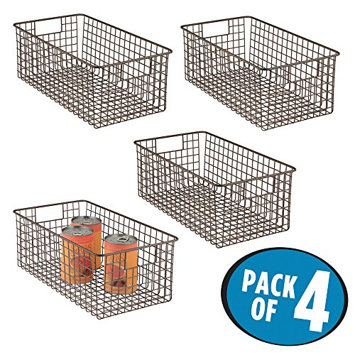 mDesign Deep Wire Storage Basket for Kitchen, Pantry, Cabinet - Pack of 4, Bronze