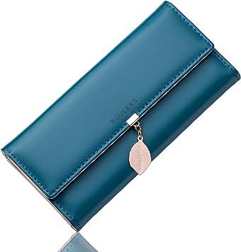 Oferta amazon: Roulens Cartera de Mujer con RFID Monedero Largo Adorno Hoja Colgante Cartera Minimalista con Bolsillo de Cremallera para Monedas
