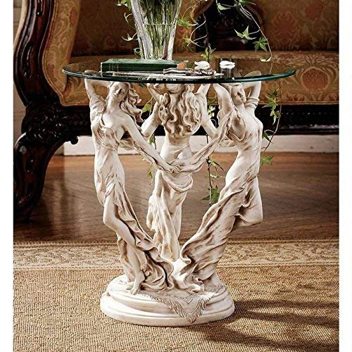 Design Toscano The Greek Muses Glass Topped Side Table, 20 Inch, Polyresin, Antique Stone
