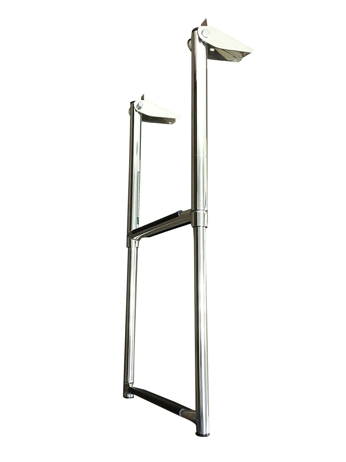 MARINE BOAT SS 2 STEPS TELESCOPING LADDER OVER PLATFORM RUBBER FOOT GRIPS by Pactrade Marine