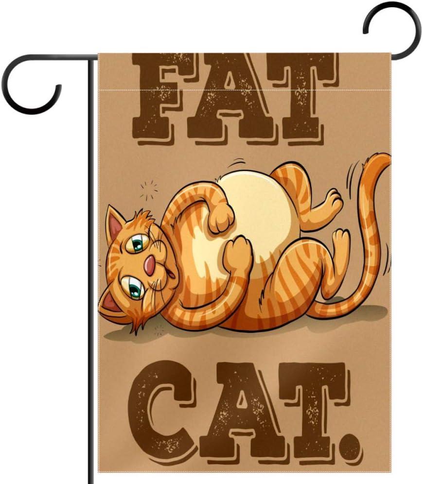 Amazon Com Lyetny Fat Cat Lawn Decoration Garden Flag Seasonal Polyester Yard Flag 12 X18 Garden Outdoor