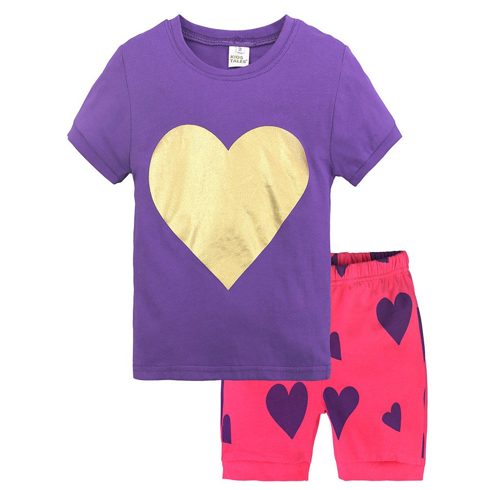 Summer Pajama Sets For Kids Girls,Baby Girls Cotton Tee Tops + Pajama Pants Girls Homewear Set(Purple,3 Years) by Wesracia (Image #1)