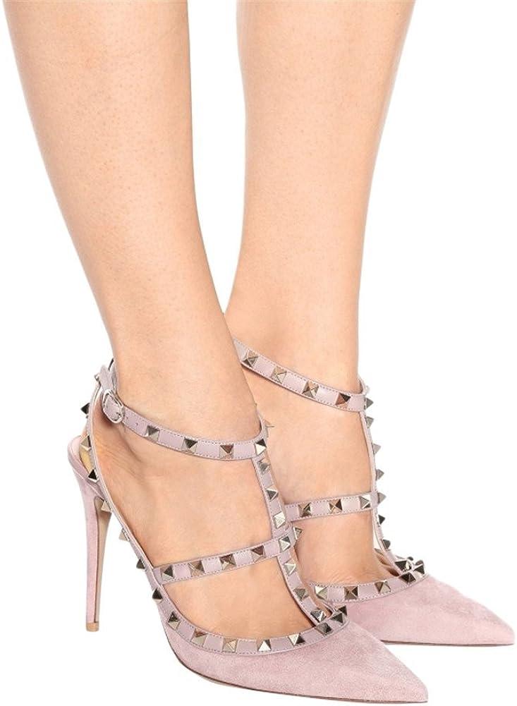 Arc-en-Ciel007 Womens Shoes Studded Stiletto Heel T-Strap Pointed Toe Sandals-PinkSuede-Us12
