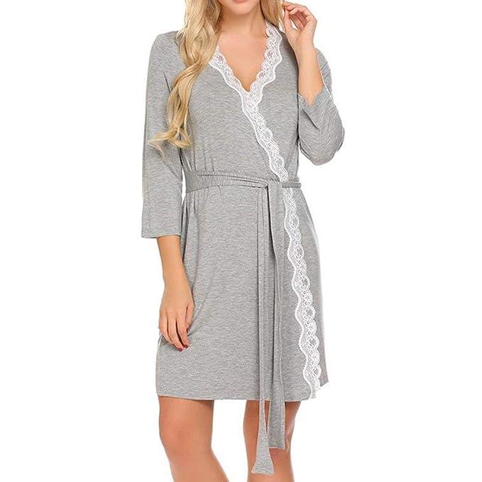 Mujer De Encaje Patchwork Noche Calentamiento Toga SPA Kimono Funda Togas Mujer Chic Ropa Boda Dama De Honor Batas Noche Cálido Shea Bañarse: Amazon.es: ...