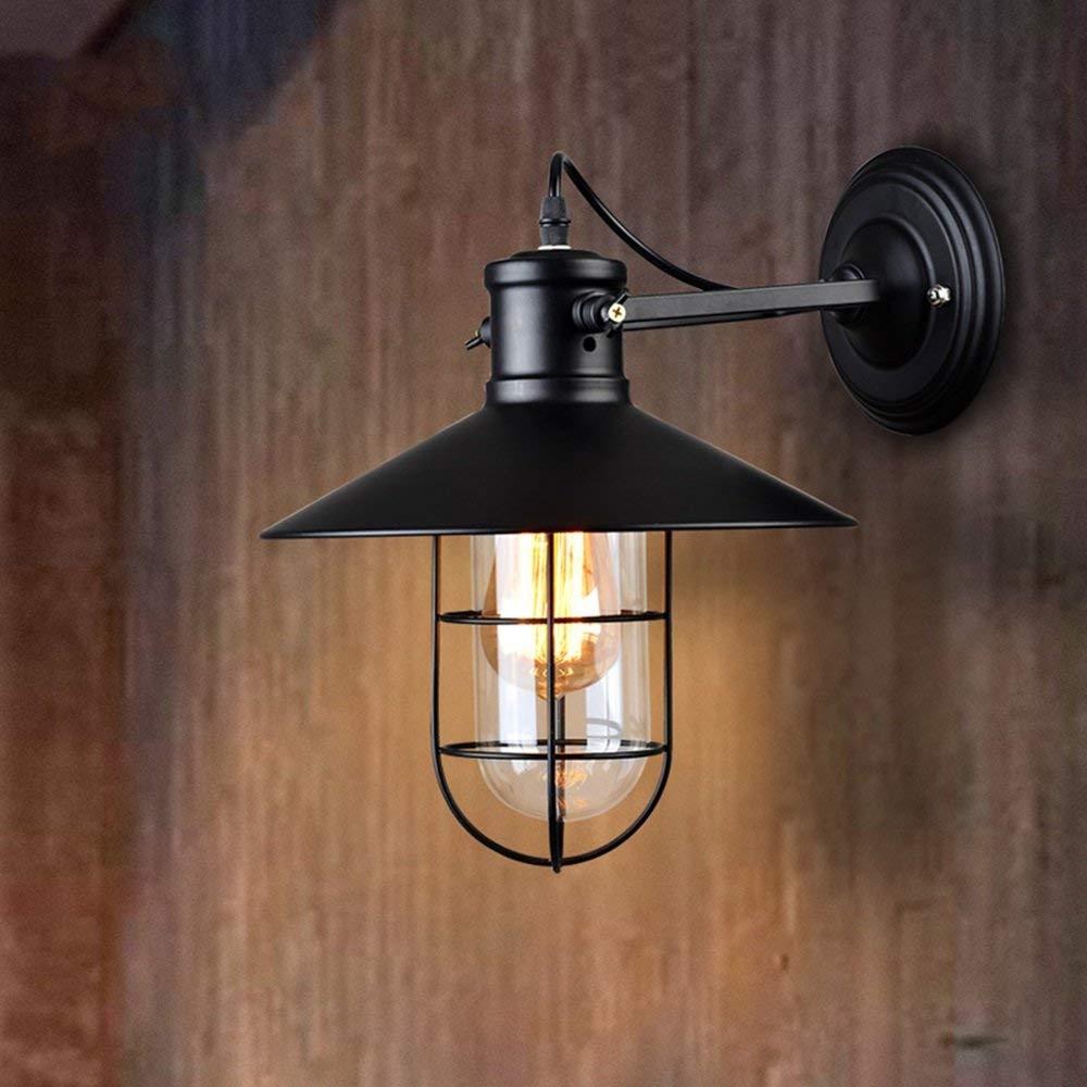 JIE Kreative Wandbeleuchtung-Retro Industrial Winds Eisen Kunst Outdoor schwarz Wandleuchte Balkon Korridor Lampen