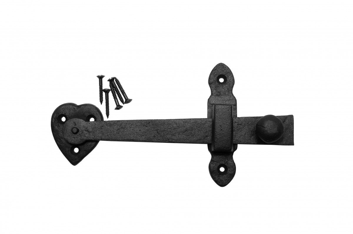 Door Gate Latch Set Black Wrought Iron 4'' H X 7 1/2'' W | Renovator's Supply