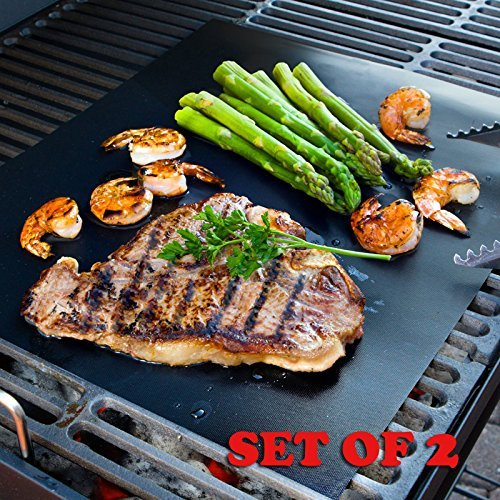 Explore Land BBQ Grill Mat - For Grilling and Baking - 100% Non Stick Oven Liner - 50% Thicker Heavy Duty - (Set...