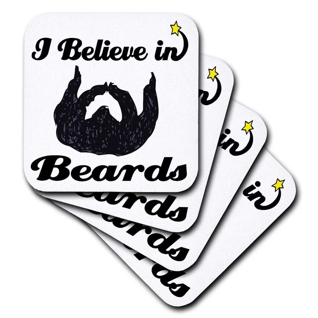 CST/_104790/_3 3dRose I Believe in Beards Ceramic Tile Coasters Set of 4