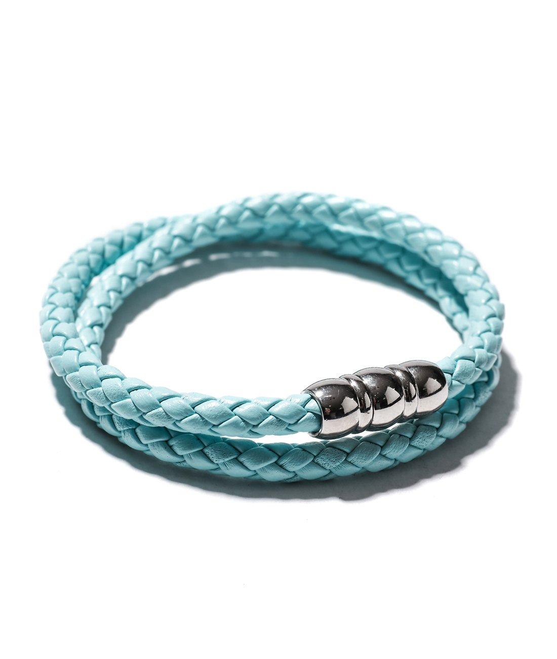 Wiberlux Mon Art Men's Double Wrap Woven Bracelet Metal Accent M Sky Blue