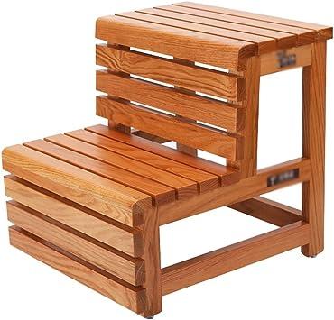 Escalera de madera de dos peldaños Escalera de madera maciza Escalera casera de doble uso Escalera ascendente de pie 42x46x45 cm: Amazon.es: Bricolaje y herramientas