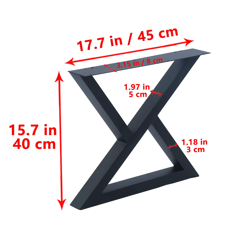 H15.7xW17.5 MBQQ 2 Pcs Furniture Legs Rustic Decory Triangle Shape Table Legs,Heavy Duty Metal Desk Legs,Dining Table Legs,Industrial Modern DIY Cast Iron Bench Legs