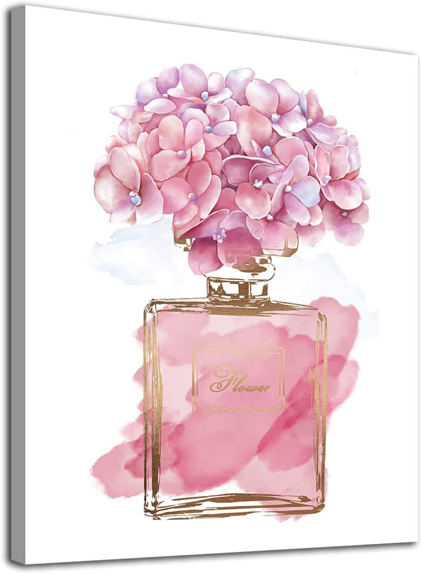 """Pink Flowers Wall Art Fashion Canvas Pictures Girls Bedroom Wall Decor Watercolor Hydrangea Contemporary Canvas Artwork Botanic Perfume Bottle Living Room Bathroom Decor Framed Ready to Hang 12"""" x 16"""""""
