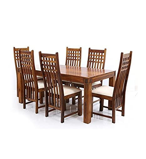 Aprodz Sheesham Wood Avavia 6 Seater Dining Table Set for Home | Dining Furniture | Brown Finish